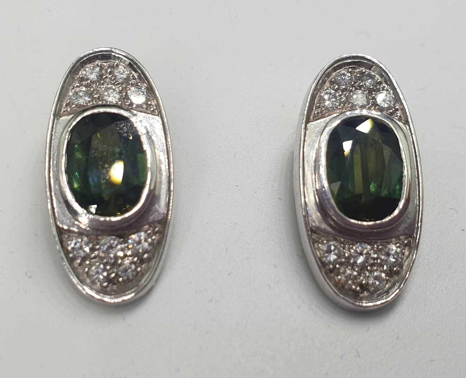 Ear Clips | 14 K Gold Diamond & Tourmaline