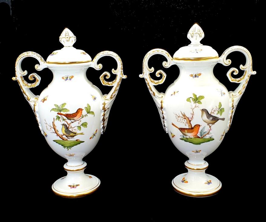 Herend   Large Vases   Rothschild Bird