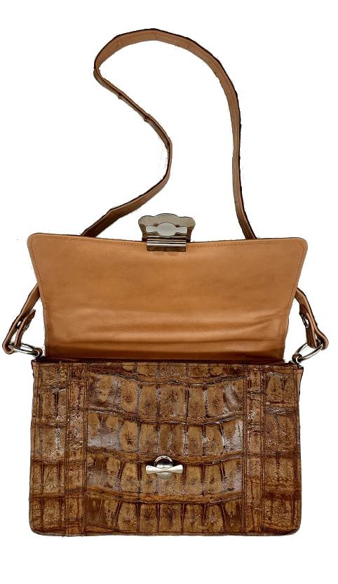 Brown Croco Handbag