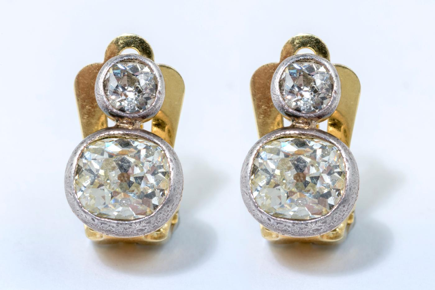 Peruzzi Cut | Diamond | Clip Earrings | 4ct