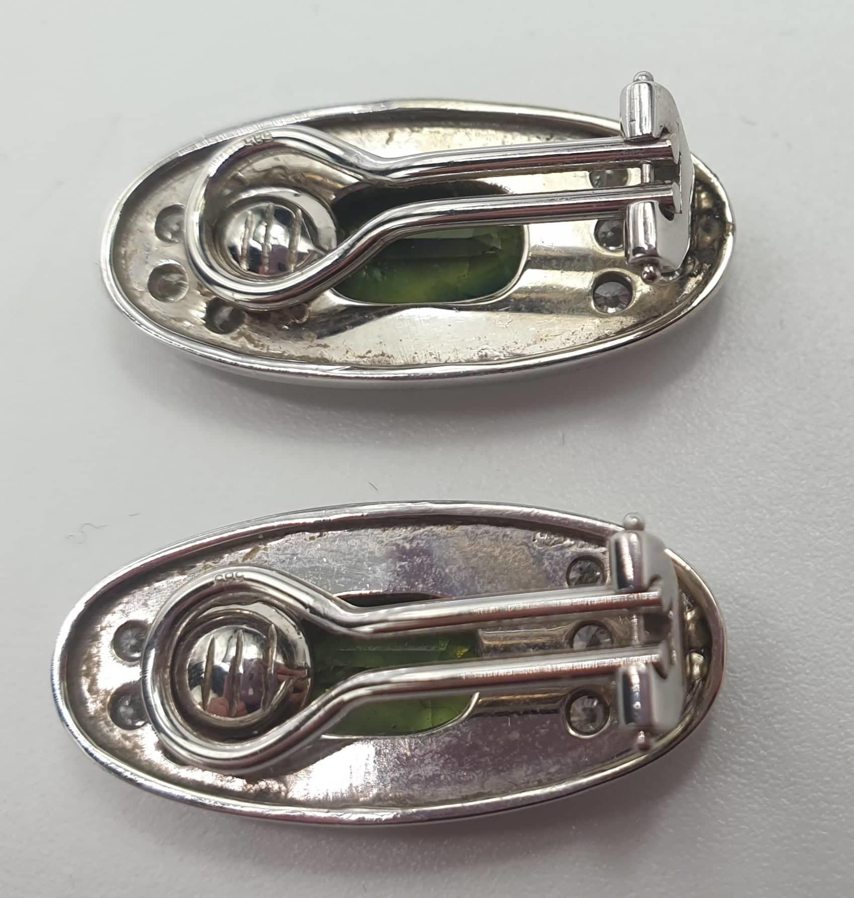 Ear Clips | 14 K Gold Diamond & Tourmaline - Image 2 of 3