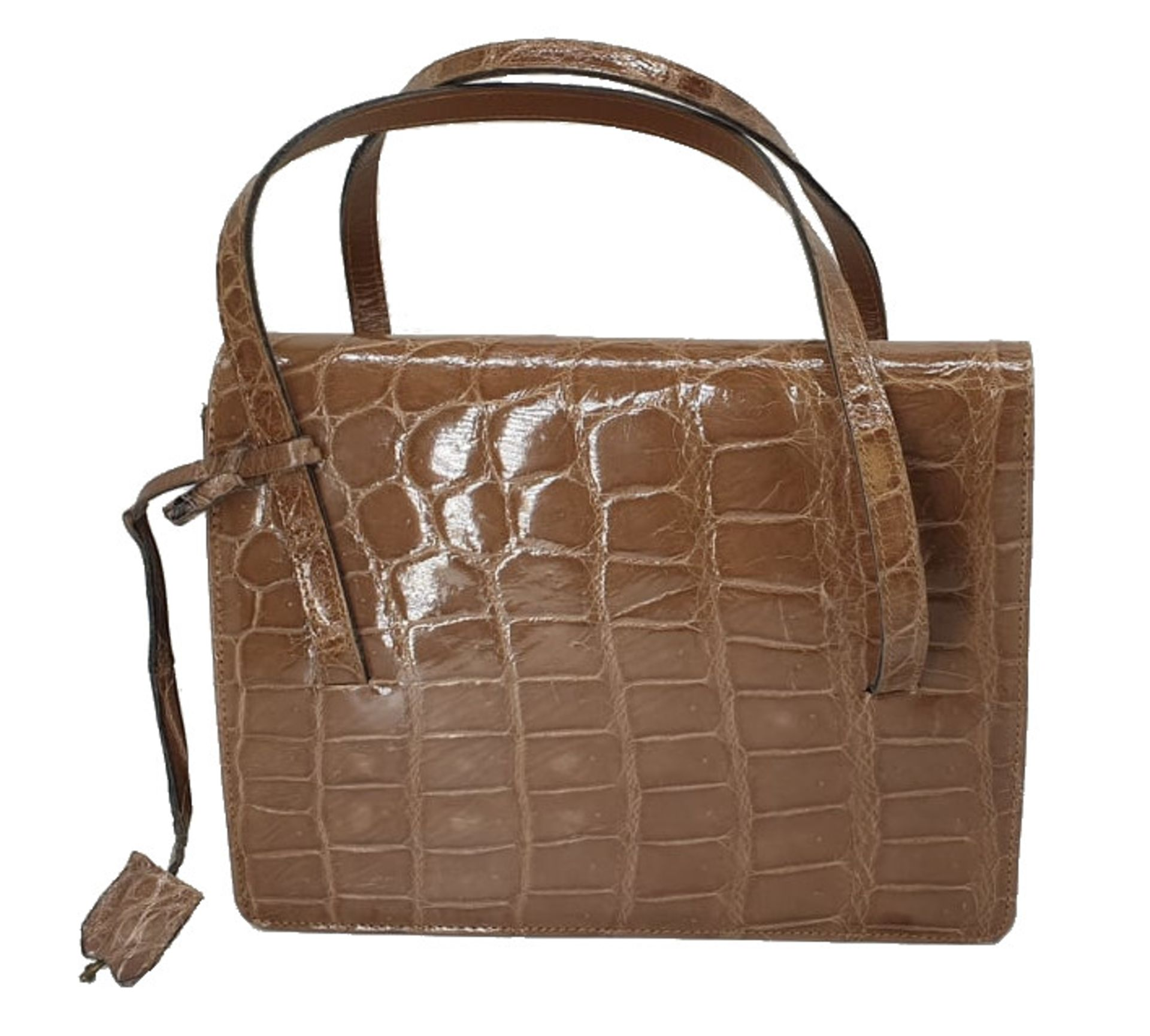 Crocodile Handbag | Brown - Image 2 of 9