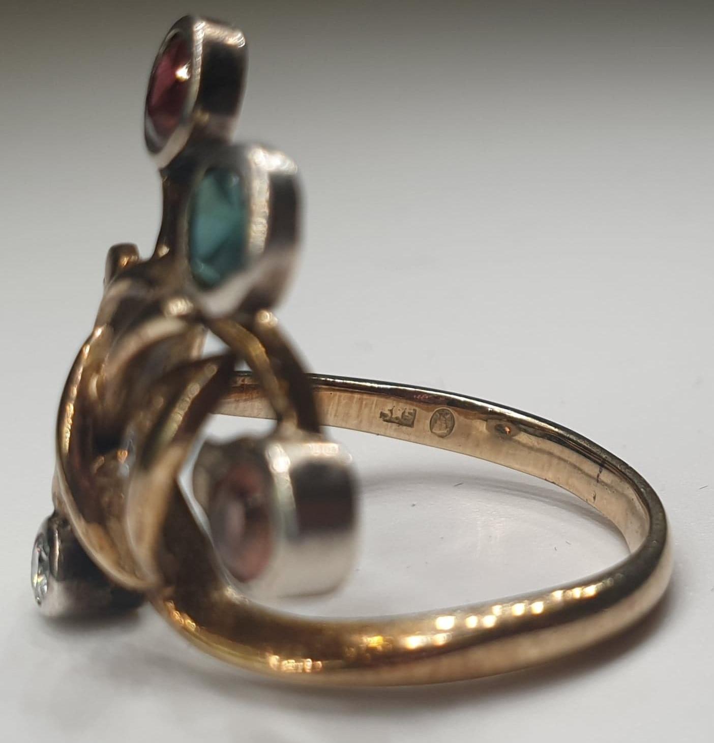 4 Stone Ring | 14K (585) Gold - Image 3 of 6