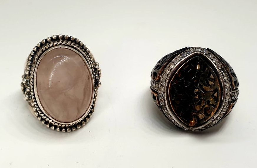 2x Silver Rings   Rose Quarz
