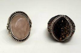 2x Silver Rings | Rose Quarz