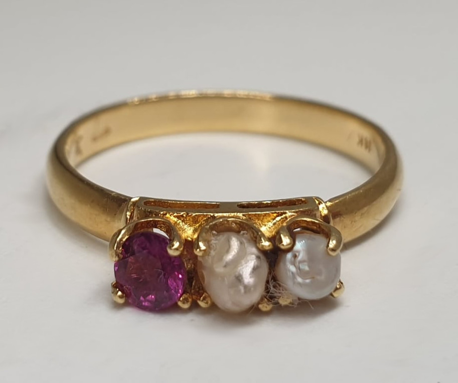 Ring | Ruby & Pearl | 18ct