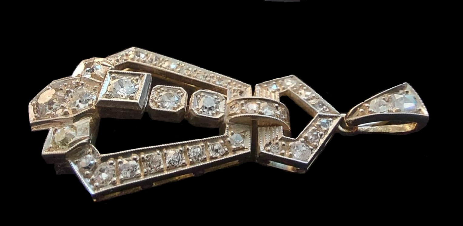 Diamond Pendant   Art - Deco - Image 5 of 5