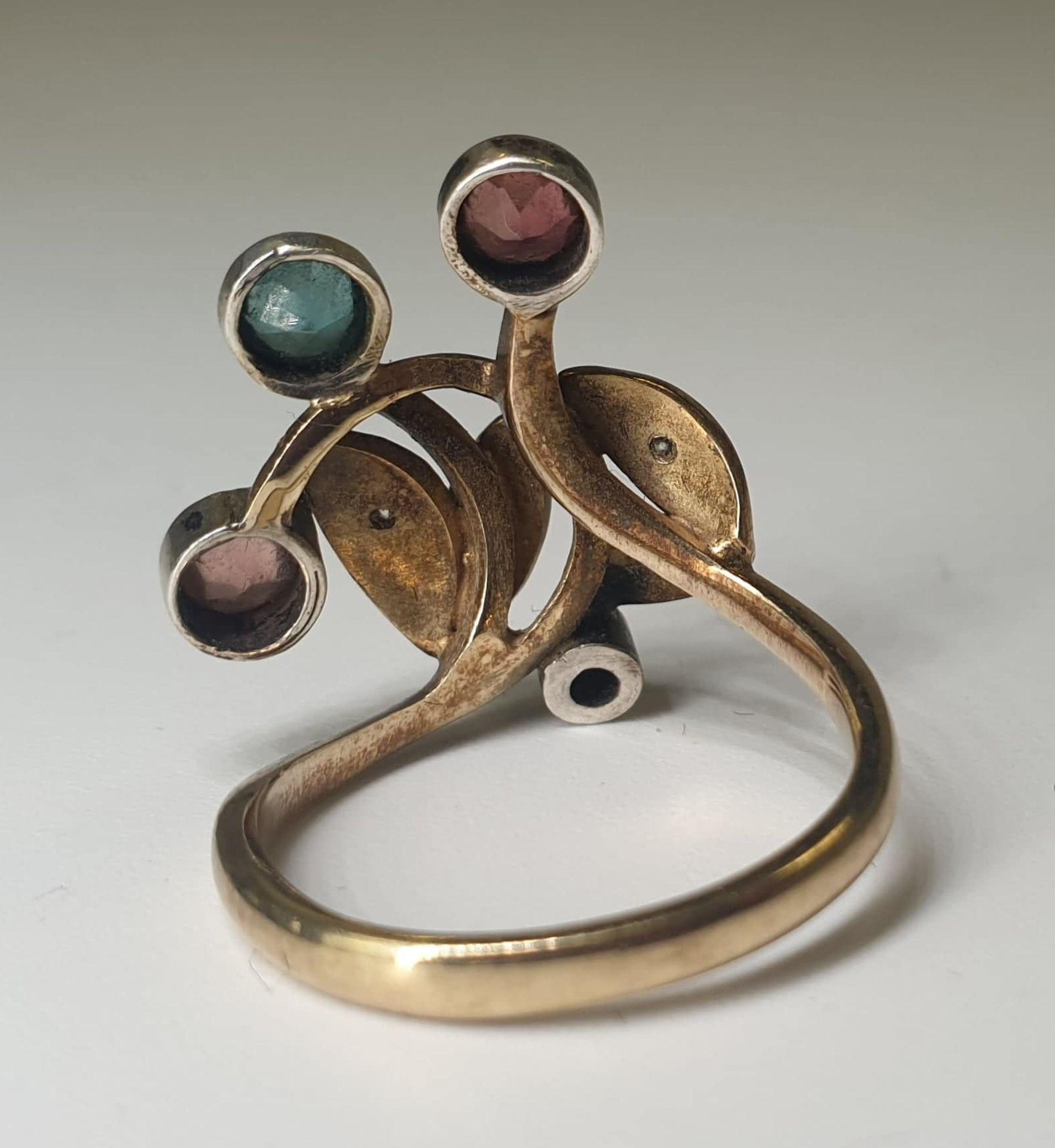 4 Stone Ring | 14K (585) Gold - Image 4 of 6
