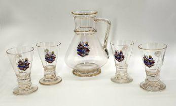 Late 19th century 5 piece set, Lobmeyr, Austria. A caraffe and 4 glasses with handles, each piece