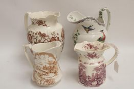 4 x Victorian Style Jugs, various sizes, including Masons, Spode (one has slight damage)