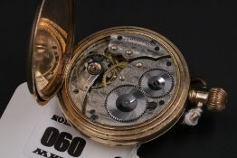 Gold Plated Waltham Pocket Watch Half Hunter Fully Working