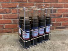 Original Esso Oil Bottle Crate with 8 unopened Quart Oil Bottles