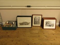 Large Quantity of Framed Motoring Related Pictures inc. Ferrari and Rolls Royce