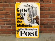 Birmingham Post 'Get To Grip With The Midlands' Vintage Enamel Sign