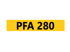Cherished Registration Number PFA 280 On Retention Certificate