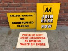 3 Enamel Signs including AA Join Here Now