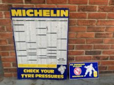 Michelin Tin Sign and a No Smoking Sign