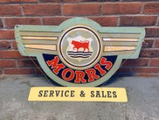 Morris Advertising Sign On Board with a Sales & Service Sign