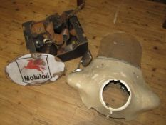 Assorted Oil Cans and pourers, Metal Sign and Motorcycle Fairing