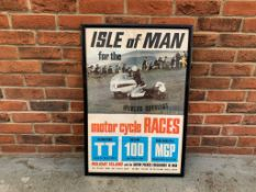 Framed Original Advertising Poster of the 1968 Isle of Mann TT