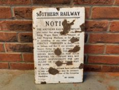 Southern Railway Notice, Original Vintage Enamel Sign