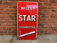 Will's Star Cigarettes Vintage Enamel Sign