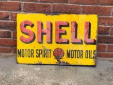 Vintage Shell Motor Spirit Double Sided Enamel Flange Sign