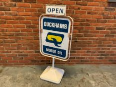 Double Sided Duckhams Q Motor Oil Open/Closed Sign on Stand