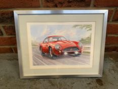 Watercolour of an Aston Martin DB4 by Steven Massey