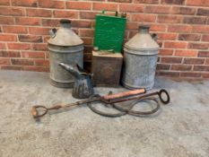 2 Galvanised 2 Gallon Cans, 2 Two Gallon Petrol cans etc