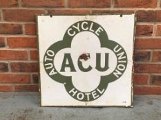 Auto Cycle Union Hotel Double sided Enamel Sign