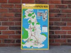Champion Spark Plugs Metal Map Sign