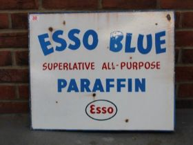 Esso Blue Paraffin Double Sided Enamel Flanged Sign