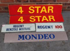 Two Glass Regent Petrol Pump Inserts, Two Perspex 4 Star Petrol Signs And Mondeo Dealership Sign