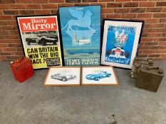 Five Reproduction Racing Related Prints/Posters & Three 2Gal Petrol Cans (8)