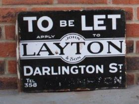 John Layton & Sons, Of Darlington St, To Let, Double Sided Enamel Flanged Sign