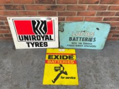 3 Signs, Uniroyal Tyres, Lucas Batteries and Exide Batteries
