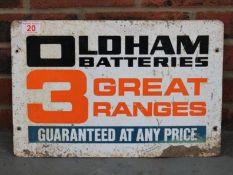 Oldham Batteries Metal Sign