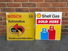 Shell Gas Sold Here Double Sided Flanged Sign Together With A Bosch Automotive Double Sided Flanged