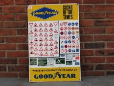 Original Steel Enamel Painted Goodyear Sign Of The Times Sign