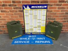Michelin Tin Tyre Pressure Chart, Two 20l Jerry Cans & MOT Service And Repairs Sign
