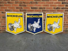 Three Michelin New Old Stock Tin Advertising Signs