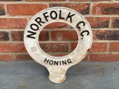 Original Norfolk County Council Post Top Sign - Honing
