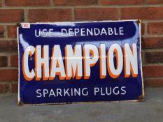 Champion Spark Plugs Enamel Convex Sign