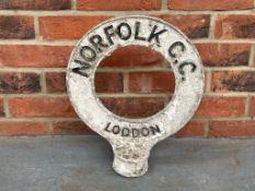 Original Norfolk County Council Post Top Sign - Loddon