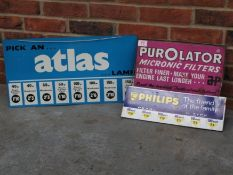 Three Signs, Atlas Lamp, Purolator Filters And Philips Bulbs