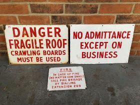 Three Original Enamel Warning Signs