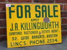 For Sale Sign For JA Killingworth Of Boston Vintage Enamel Flanged Sign