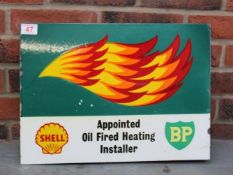 Shell, BP Oil Fired Heating Installer Double Sided Flanged Sign