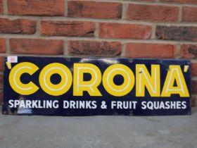 Corona Single Sided Vintage Enamel Sign